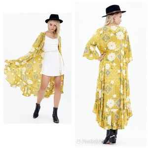 Kivari S/M saffron bloom kimono maxi dress
